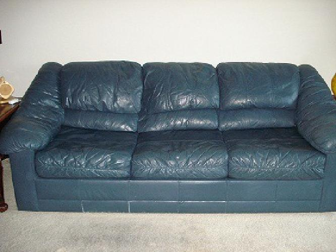 350 Obo All Leather Blue Sleeper Sofa For Sale In Dallas
