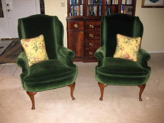 350 Pair Of Highland House Green Velvet Wingback Chairs