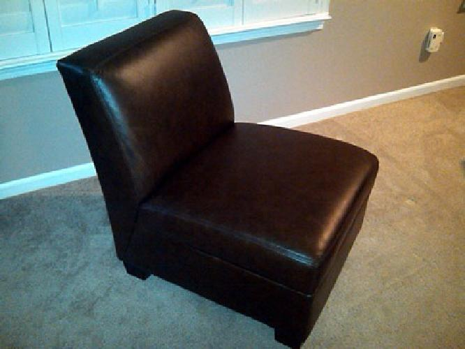 Armless Leather Chairs $350 pottery barn trevor leather slipper chair (nutmeg) for sale