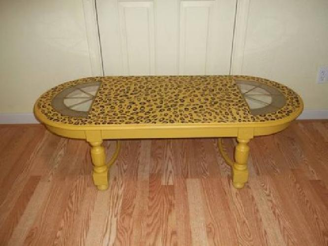 35 Cheetah Leopard Animal Print Hand Painted Coffee Table For Sale In Belvidere Illinois