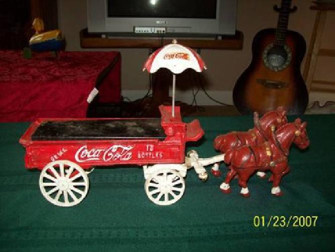 $35 Coca Cola Cast Iron Horse Drawn Wagon