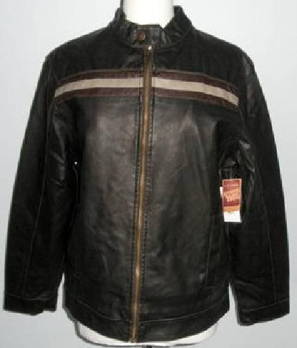 $35 Mens Arizona Jean Faux Leather Jacket bomber Motorcycle New with tags