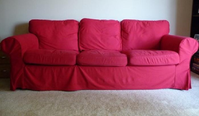 375 obo comfortable ikea sofa with red and light brown for Ikea arlington va