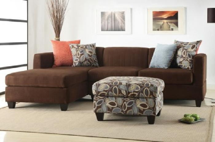 $379 2-Piece Reversible Modern Sectional with Pillows