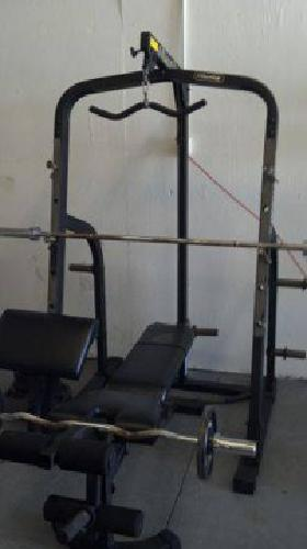 395 Nautilus Squat Rack Open Rack With Bench Weights