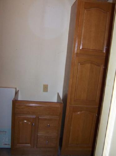 3 Piece Bathroom Oak Vanity Linen Cabinet And Tri View Mirror Medicine Cabinet For Sale In