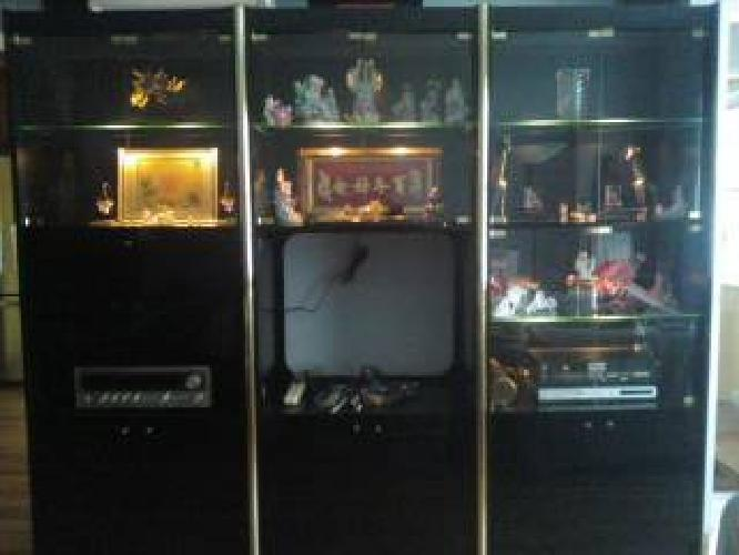 400 Black Lacquer Wall Unit Entertainment Center For Sale