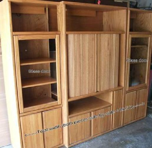 400 Large Oak Wood Entertainment Center For Sale In