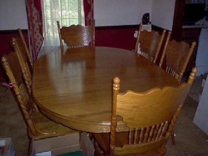 Oak Dining Table W Oak Chairs Oval WLeaf Avail Still - Oval oak dining table and 6 chairs