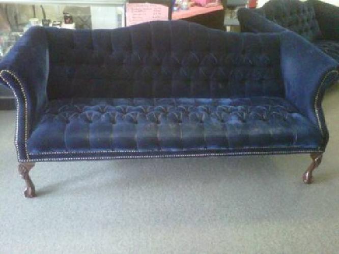 $400 Queen Anne Sofa And Loveseat !! Dark Blue Velvet !