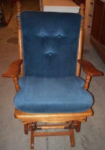 40 Burcham Glider Rocking Chair Oak Blue Cushions
