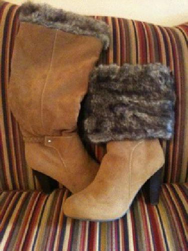 $40 Caramel boots with faux fur top with air cushion in sole
