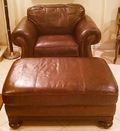 $425 Bernhardt Brown Leather Chair And Ottoman