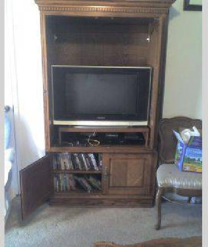 $450 big entertainment center with matching curio cabinets