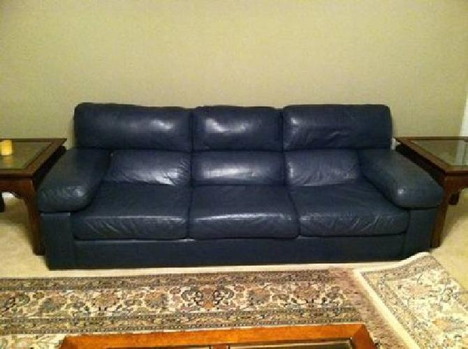 Furniture Covington La 450 Navy Blue Leather Couch & Recliner for sale in Locust Grove ...