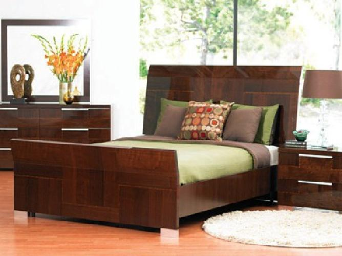 450 Obo Dania Queen Pisa Italian Glossy Bed Frame For