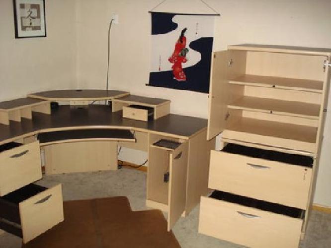 450 Office Set L Corner Desk Filing Storage Cabinets