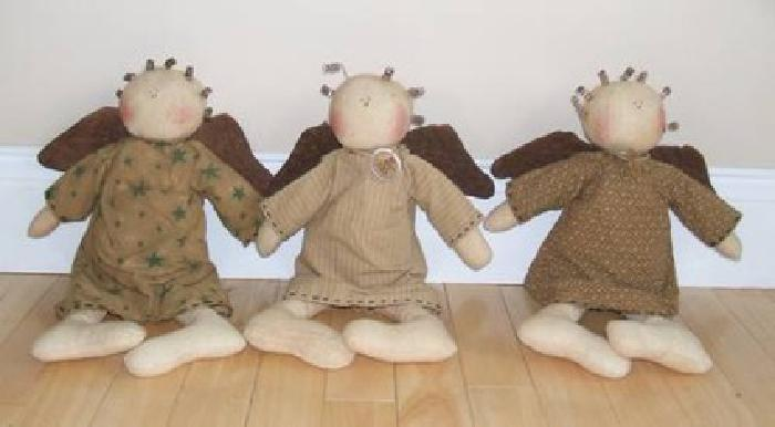 $45 Faith, Hope and Love Primitive Dolls by Honey & Me (set of 3)