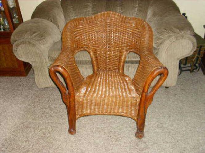 45 vintage wicker chair w wooden swan arms for sale in sellersville