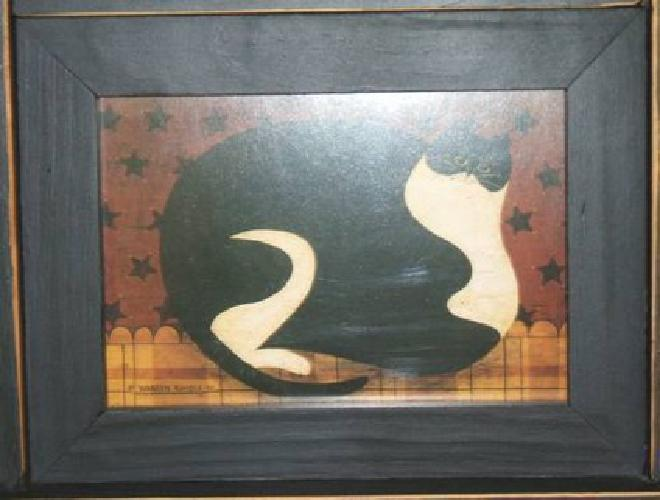 $45 Warren Kimble Fat Cat Print Wall or Table Clock