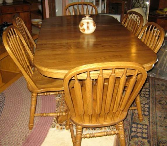 479 Vintage Oak Dining Set Oval Table W Leaf 6 Chairs By