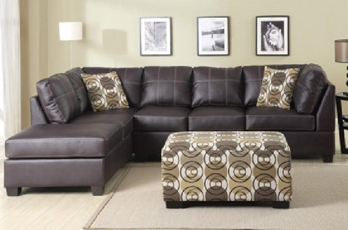 $499 Modern Leather 2-Piece Sectional Sofa with Throw Pillows
