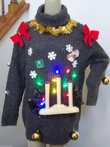 $49 Large Gray Ugly Christmas Sweater Turtle Neck Wool Candle Sticks Balls LED Light