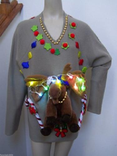 $49 Men's Wool Sweater XL Moose Head Bendable Antlers Ugly Christmas LED Lights