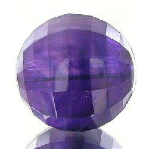 $4 10.96ct Faceted Uruguay Purple Amethyst Round Bead (GEM-048206)