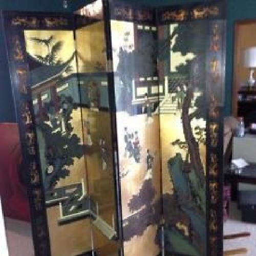 $500 OBO Oriental 4 panel wood screen