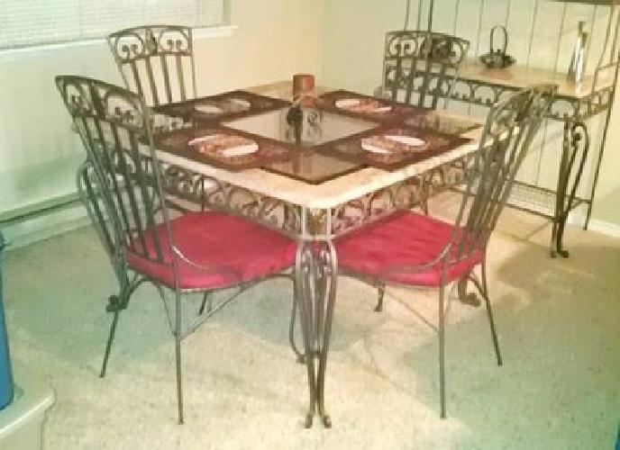 500 Wrought Iron Marble Amp Glass Dining Set W Hutch
