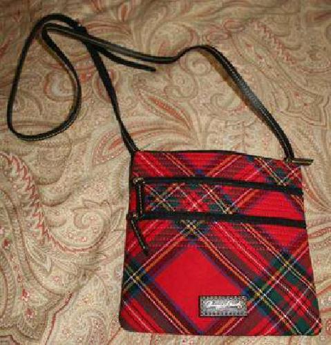 50 Brand New Dooney Bourke Red Plaid Crossbody Bag Coin Purse