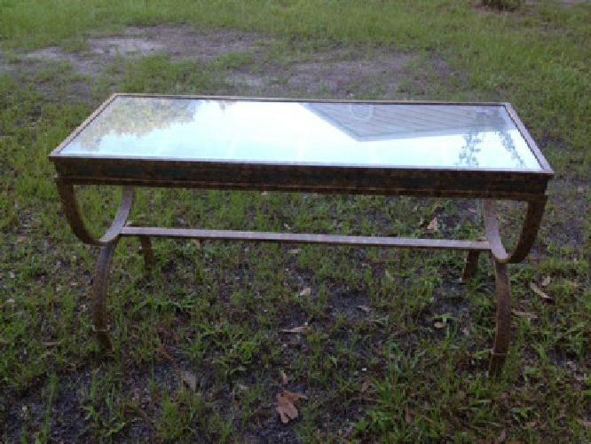 $50 OBO Sofa table - Glass and Iron