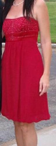 $50 Ruby Red Evening Dress -- Beaded Bustier with Chiffon -- size 6