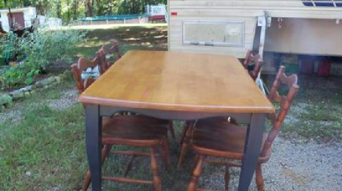 $50 table and four chairs, medium wood tone