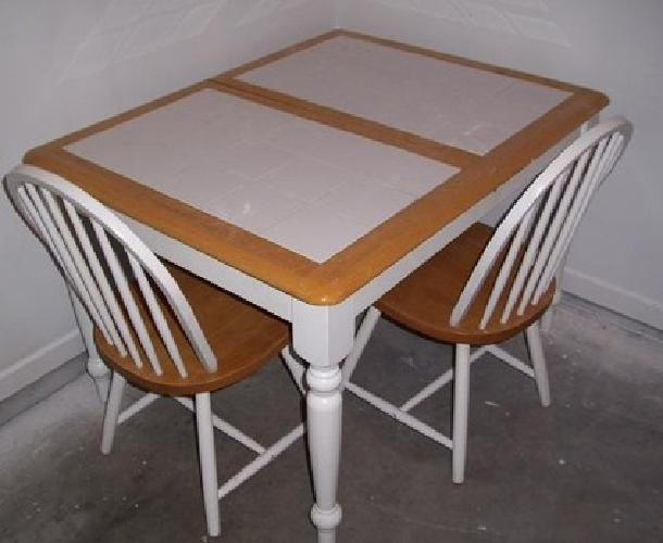 White Tile Kitchen Table 50 White Tile Top Kitchen Dining Table Oak Trim And 4 Chairs For Sale