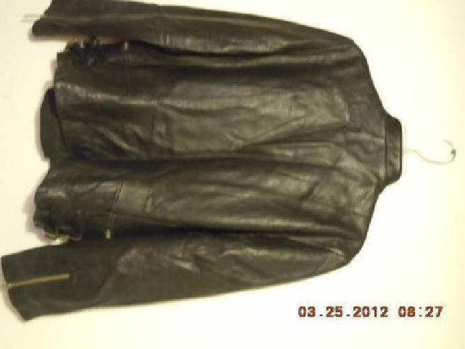 $50 Women's Black Leather Motorcycle Jacket - Size Large