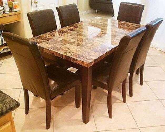 525 Marble Top Wood Leather Dining Set With 6 Chairs