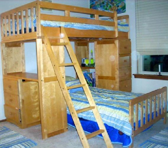 550 oak loft style twin bunk beds with attached desk and drawers for sale in voorhees new - Beds with desks attached ...