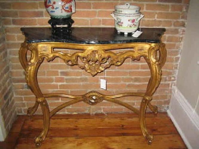 $550 Reproduction Gilt Console with faux marble top