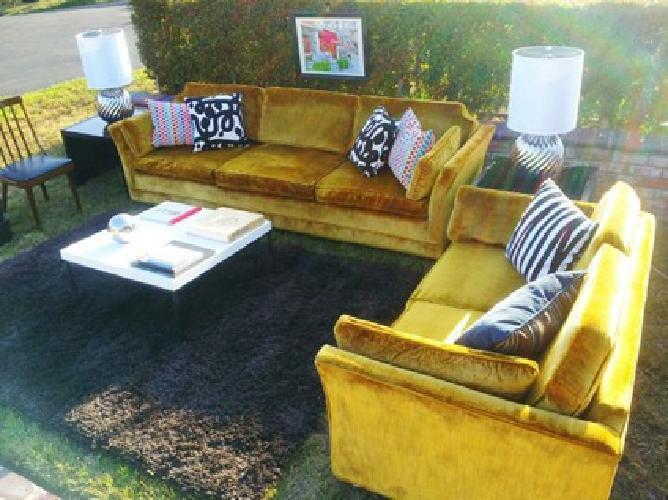 550 Vintage Mid Century Modern Yellow Velvet Sofa Set For Sale In