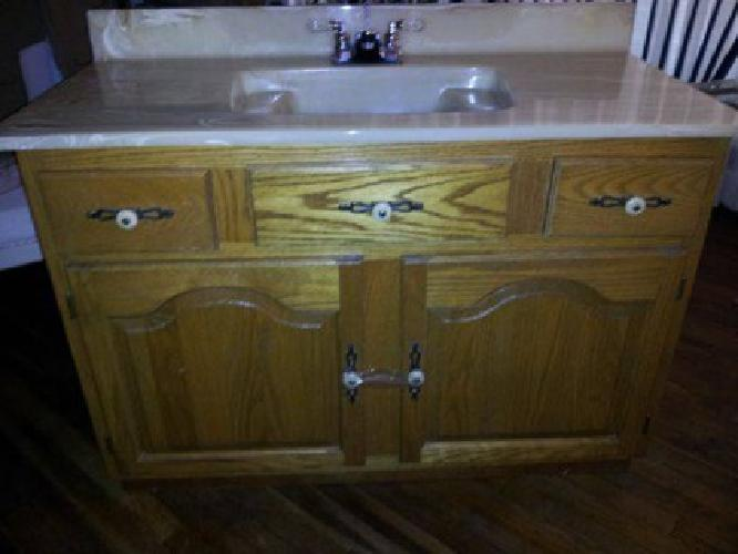 55 Used Large Wood Bathroom Vanity Fixture Single Stone Sink Top Lancaster For Sale In