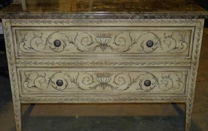 575 Ferguson Copeland 2 Drawer Painted Sideboard Dresser W Marble Top For Sale In Crystal