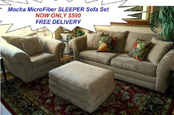 590 Sensation Mocha Microfiber Sleeper Sofa Set By Kevin Charles Furniture For Sale In Port