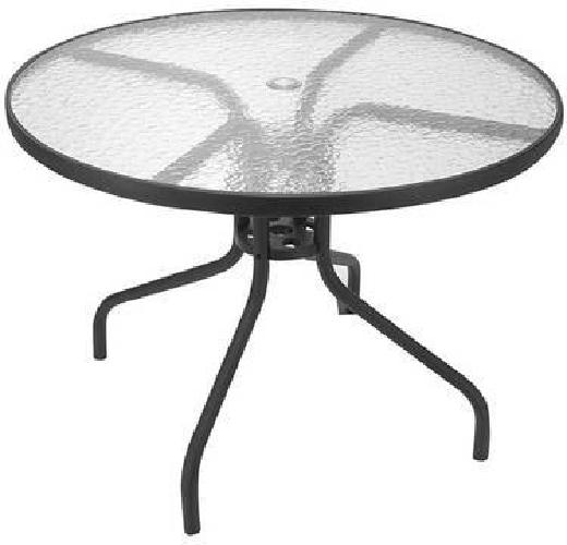 59 spartan 40 round glass top patio table for sale in for Outdoor round table tops for sale