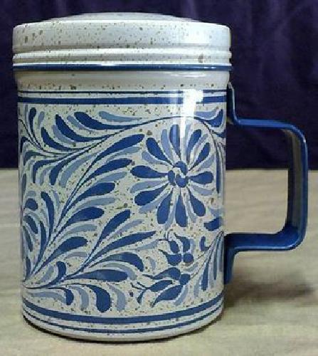 $5 Avon Blue & White Floral Country Tin Talc Shaker