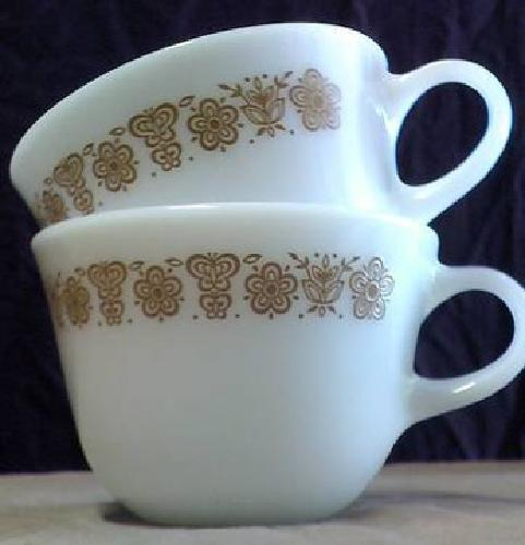$5 Two Pyrex / Corning Matching Floral & Butterfly Banded Milk Glass Mugs