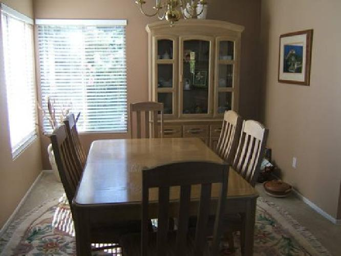 $600 White washed Dining room table and chairs with matching china