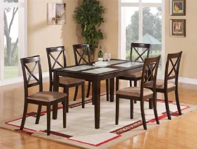 $609 CAPRI DINING TABLE WITH 4 CHAIRS & 1 BENCH (raleigh)