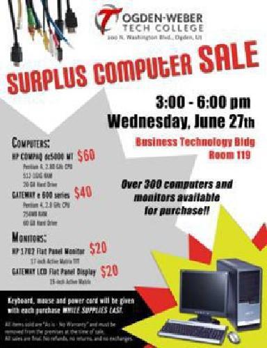$60 Ogden-Weber Tech College Surplus Computer and Monitor Sale